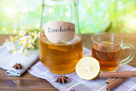 Foto de Healthy tea kombucha with lemon and cinnamon. Recipe for homemade Kombucha Summer bright background - Imagen libre de derechos