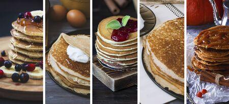 Photo pour Food collage from photos of pancakes. Homemade baking - image libre de droit