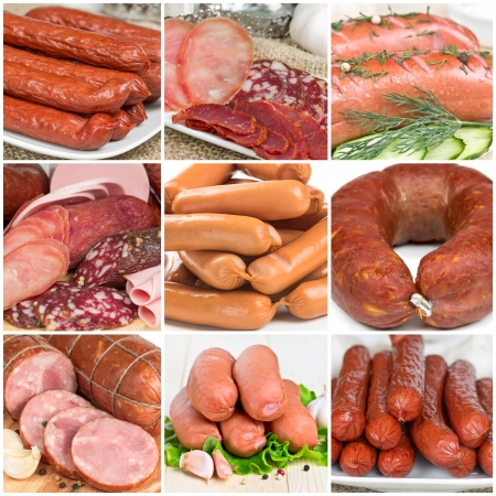 Collage of different meat sausages, close-up