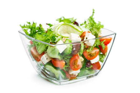 Fresh Vegetable Salad In A Glass Bowl On White Background