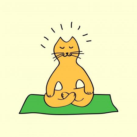 Illustration pour Cute orange cartoon cat in yoga position, vector - image libre de droit