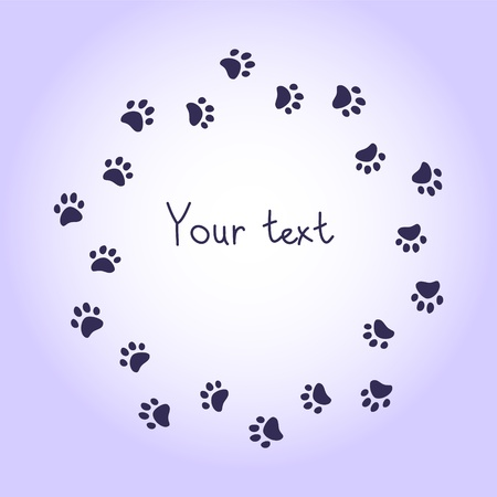 Cat or dog paw prints violet round frame for your text background, vector