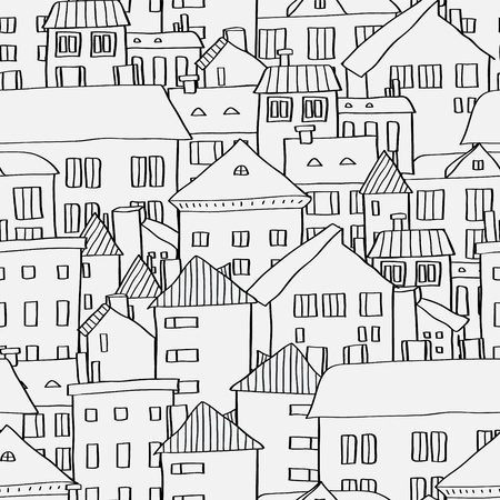 Old town panoramic seamless pattern in black and white