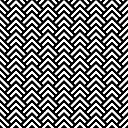 Illustration for Black and white chevron geometric seamless pattern, vector - Royalty Free Image
