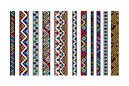Colorful ethnic geometric aztec seamless borders set, vector