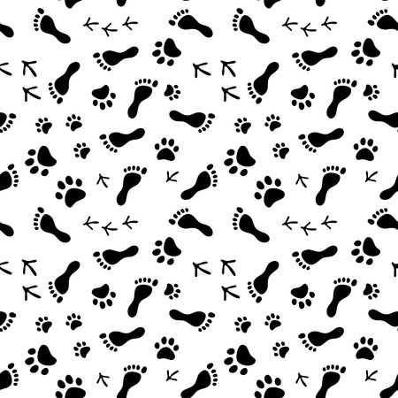 Footprints of human, cat, dog, birds black and white seamless pattern, background