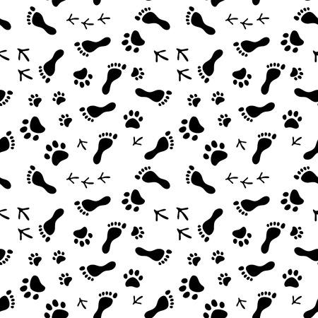 Foto für Footprints of human, cat, dog, birds black and white seamless pattern, background - Lizenzfreies Bild