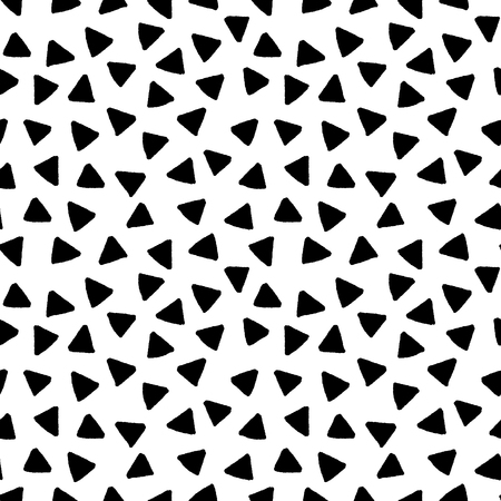 Photo for Black and white triangles hand drawn simple geometric seamless pattern, vector background - Royalty Free Image