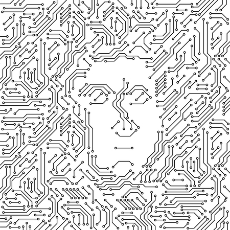 Printed circuit board black and white computer technology with a human face, artificial intelligence concept, vector illustration