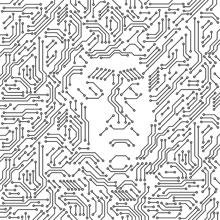 Printed circuit board black and white computer technology with an angry human face, evil artificial intelligence concept, vector illustration