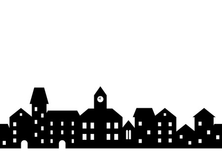 Illustration pour Black and white houses and buildings small town street seamless border, vector illustration - image libre de droit