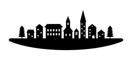 Ilustración de Black and white houses and buildings small town street, vector template illustration - Imagen libre de derechos