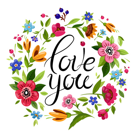 Illustration pour Beautiful lettering I love you decorated colorful flowers. Vector floral frame with calligraphy. Elegant Happy Valentines Day card. - image libre de droit