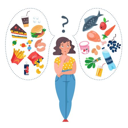 Illustration for Fat Woman choosing between healthy and unhealthy food. Fast Food vs balanced menu comparison. Concepts diet and healthy eating. Female cartoon character. Flat vector illustration. - Royalty Free Image
