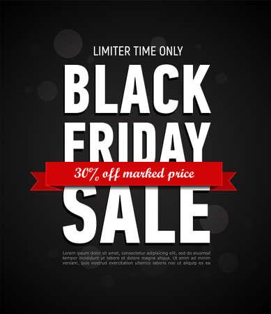 Illustration pour Black Friday sale inscription design template. Trendy banner. Discount 30 off marked price. Advertising banner. - image libre de droit