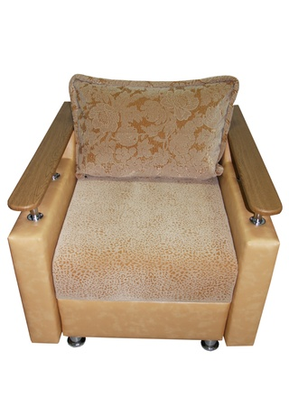 brown armchair with armrests isolated on white