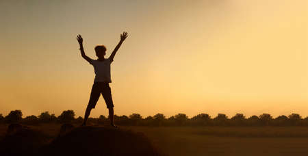Photo pour Silhouette of a happy jumping child-boy, over a haystack on the background of a field with a beautiful sunset.The concept of a carefree childhood. Beautiful summer landscape, copyspace, banner - image libre de droit