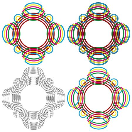 Four abstract colorful vector circular colorful forms same as a wicker pattern with different details in performance