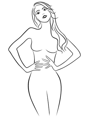 Attractive girl holding hands on waistline, hand drawing vector outline