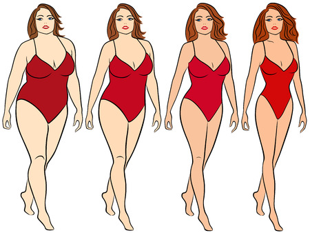 Four stages of a woman on the way to lose weight, colorful vector illustration isolated on white background