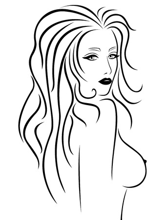 Abstract beautiful young woman with a naked breast, hand drawing vector outline