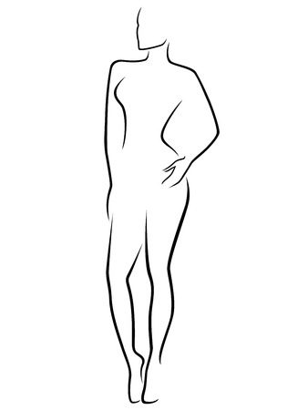 Abstract human slim body laconic vector outline