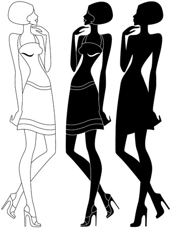 Abstract slender model in shoes with high heels, vector artwork in three various embodiments