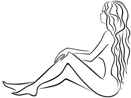 Abstract beautiful young girl with long hair dreamily sits with legs slightly bent, hand drawing vector outline