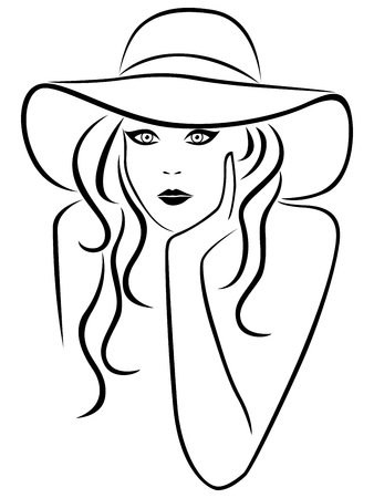 Abstract young woman portrait in a hat with wide brim, outline