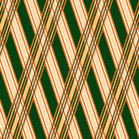 Seamless vector pattern with crossed lines mainly in orange and green hues