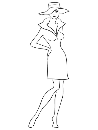 Attractive graceful beautiful young lady standing and posing in short dress and in wide-brimmed hat, hand drown vector outline