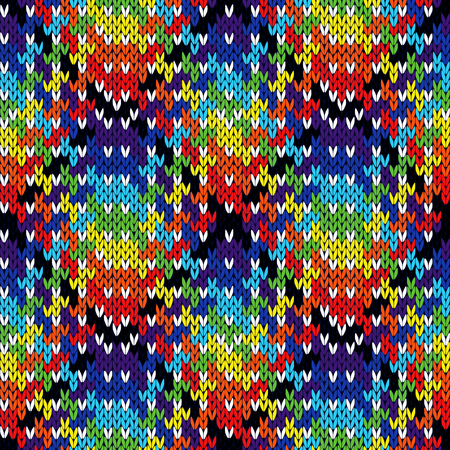 Ornate knitting seamless vector multicolour pattern as a fabric texture