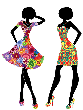 Slim stylized models in short ornate colourful dresses, vector stencils isolated on the white background