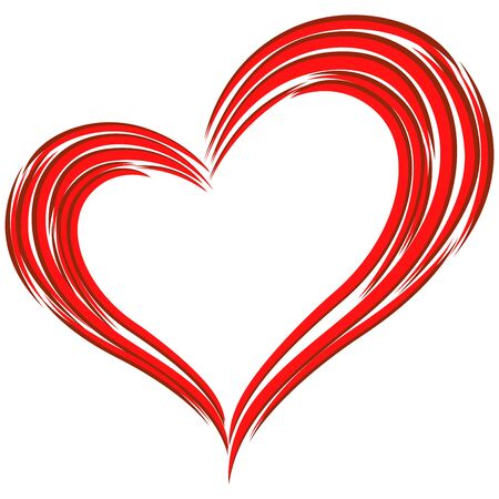Stylized Red Heart the Symbol of Love isolated on the white background, vector illustration