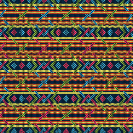 Seamless knitted ornate geometric interlaced seamless multicolour vector pattern as a fabric texture