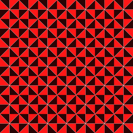Contrast geometrical decorative seamless vector pattern in red, black and white color, vector as a fabric texture
