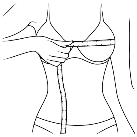 Girl measuring the size of her chest with tape measure, outline vector illustration