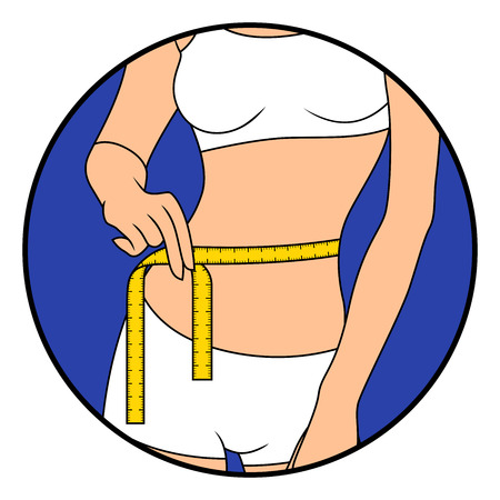 Girl measuring the size of her waist with tape measure, hand drawing vector illustration in circle isolated over white