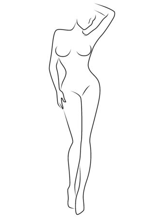 Illustration pour Abstract of body charming and sensual woman, illustration isolated on the white - image libre de droit
