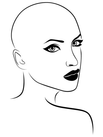 Illustration pour Outline face of charming and attractive woman, black isolated on the white background - image libre de droit