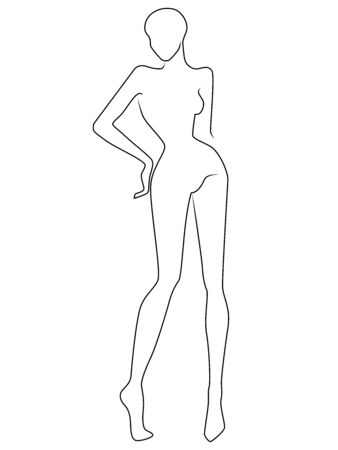 Illustration pour Outline of the body of elegant woman, black isolated on the white background, hand drawing outline - image libre de droit