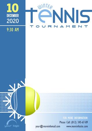 Vektor für Winter Tennis Tournament poster template. Place for your text message. Vector illustration. - Lizenzfreies Bild