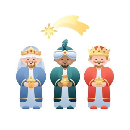 Illustration pour Christmas illustration. The Three Kings or Three Wise Men and the Bethlehem shooting star on white. Cute cartoon characters. Vector illustration. - image libre de droit