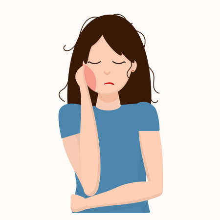 Illustration pour young woman holding her cheek because of toothache (bad tooth), dental care and dentistry concept - image libre de droit