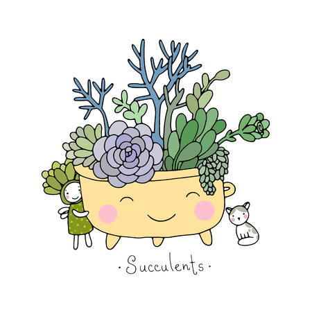 Cartoon cute succulents in pot. Hand drawing isolated objects on white background. Vector illustration.