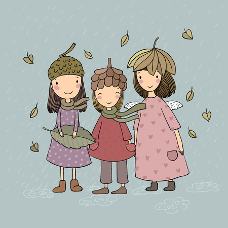 Illustration for Three small forest fairies. Cartoon elves. Autumn postcard. Three sisters in fancy dress - Vector illustration - Royalty Free Image