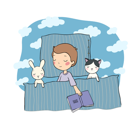 Illustration for Sleeping boy. Baby in bed with toys. Time to sleep. Good night. Vector - Royalty Free Image