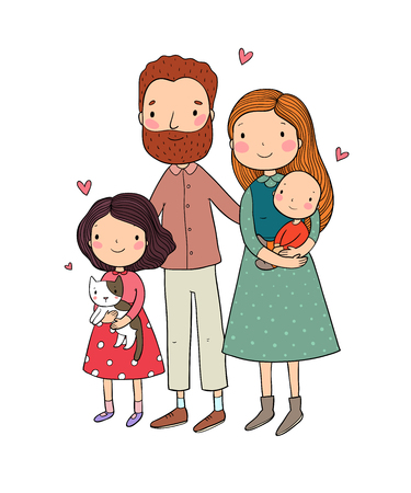 A happy family. Parents with children. Cute cartoon dad, mom, daughter, son and baby. Funny pet cat and dog