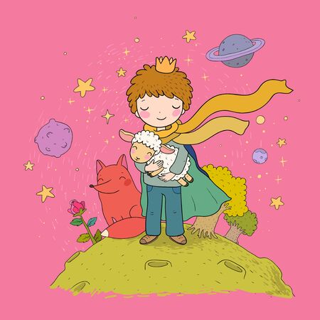 Illustration for The Little Prince.A fairy tale about a boy, a rose, a planet and a fox. Vector - Royalty Free Image
