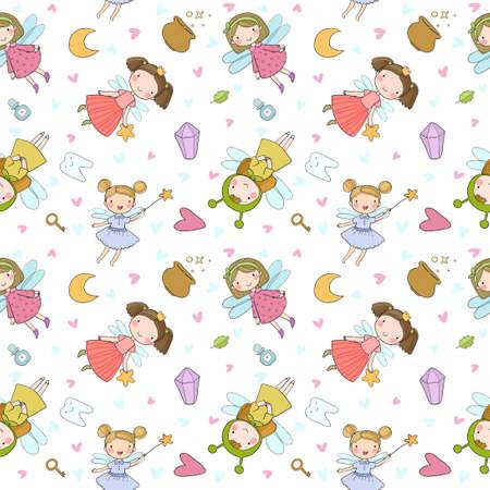 Illustration pour Pattern with cute cartoon fairies. Fairy elves. Childrens illustration. tooth Fairy - image libre de droit